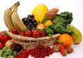 Fruits and vegetables in a basket Royalty Free Stock Photos