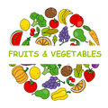 Fruits and vegetables card with colorful icons Stock Photography