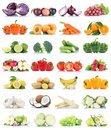 Fruits and vegetables collection isolated apple cabbage orange grapes banana colors fresh fruit Royalty Free Stock Photo