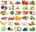 Fruits and vegetables collection isolated apple orange banana gr Royalty Free Stock Photo