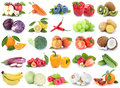 Fruits and vegetables collection isolated apple orange banana to Royalty Free Stock Photo