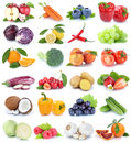 Fruits and vegetables collection isolated apple orange bell pepper cabbage tomatoes fresh fruit Royalty Free Stock Photo