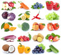Fruits and vegetables collection isolated apple orange bell pepper tomatoes fresh fruit Royalty Free Stock Photo