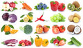 Fruits and vegetables collection isolated apple orange kiwi tomatoes fresh fruit Royalty Free Stock Photo