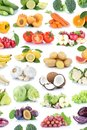 Fruits and vegetables collection isolated background apples bana