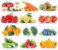 Fruits and vegetables collection isolated orange apple strawberries bell pepper tomatoes fresh fruit Royalty Free Stock Photo