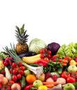 Fruits and vegetables collection of on white background Royalty Free Stock Photography