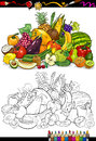 Fruits and vegetables for coloring book or page cartoon illustration of big food group children education Royalty Free Stock Image