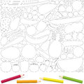 Fruits Vegetables Coloring Page Picture Template Royalty Free Stock Photo