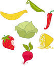 Fruits and vegetables eps vector of including strawberry beet lemon chilly peas bananas cabbage Stock Photography