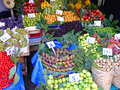 Fruits and vegetables at farmers market stall Royalty Free Stock Photos