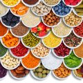 Fruits and vegetables food background spices ingredients berries square copyspace copy space from above Royalty Free Stock Photo