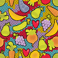 Fruits and vegetables and hearts seamless pattern with vector texture Royalty Free Stock Images