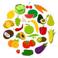 Fruits and Vegetables icons. Organic fruits and vegetables template. Healthy eating concept. Vector