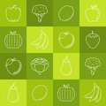 Fruits and vegetables lineart minimal vector iconset on multicolor checkered texture Royalty Free Stock Photo