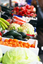 Fruits and vegetables on market various colorful stand outdoor Royalty Free Stock Images