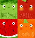 Fruits and vegetables muzzles broccoli, apple