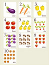 Fruits and vegetables  number cards Royalty Free Stock Photos
