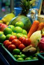 stock image of  Fruits and vegetables are placed in a tray for juice. in market.