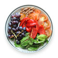 Fruits and Vegetables on a Plate Royalty Free Stock Photos