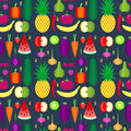 Fruits and vegetables seamless pattern. Healthy lifestyle or diet vector design element. Royalty Free Stock Photo
