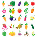 Fruits and vegetables set vector on white background Stock Photos