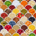 Fruits and vegetables spices ingredients background square berries from above Royalty Free Stock Photo