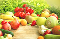 Fruits and vegetables on a table Royalty Free Stock Images