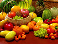 Fruits and vegetables on the table are Stock Photo
