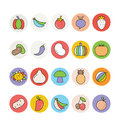 Fruits and Vegetables Vector Icons 3 Royalty Free Stock Photo
