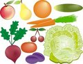 Fruits and vegetables vector set Stock Photography