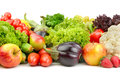 Fruits and vegetables on a white background Royalty Free Stock Images