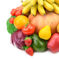 Fruits and vegetables on white background Stock Photo
