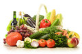 Fruits and vegetables in wicker basket Royalty Free Stock Images