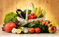 Fruits and vegetables in wicker basket Royalty Free Stock Photo
