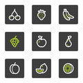 Fruits web icons, grey square buttons series Royalty Free Stock Photography