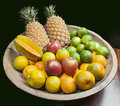 Fruits in woody tray Royalty Free Stock Photos