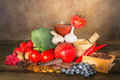 Fruity antioxidants display of fruits and vegetables on a wooden table filled with Stock Image
