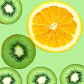 Fruity background set of slices of orange fruit and kiwi
