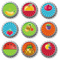 Fruity bottle caps -  set Royalty Free Stock Photos