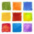 Fruity colored paint square backgrounds a set of multicolor patterned painting strokes in made with paintbrush texture suitable as Stock Photography