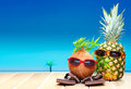 Fruity friends in tropical paradise Royalty Free Stock Photo