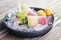 Fruity ice cream homemade sweet food Stock Photos