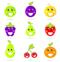 Fruity icon collection - nine Fruit Mascots. Stock Image
