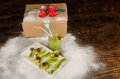 Fruity kid dessert kiwi christmas tree and a gift a festive Royalty Free Stock Photography