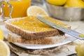 Fruity lemon jam homemade with some fresh fruits Royalty Free Stock Image