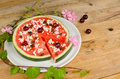Fruity pizza with coconut shavings creative kid food Stock Image