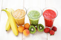 Fruity shake various shakes with fresh fruits food and drink Royalty Free Stock Images