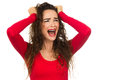 Frustrated, angry and upset woman screaming. Stock Photography