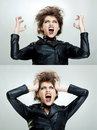 Frustrated and angry woman is screaming Stock Images